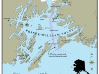 Map of Prince William Sound with tanker lanes