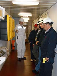 Council representatives learn about the tanker. Photo by Alan Sorum.
