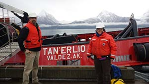 Lisa Matlock and Steve Rothchild took a ride aboard the escort tug Tan'erliq on October 25, which was escorting a tanker from the terminal. They experienced gusts up to 45 knots and 10 ft seas. Many thanks to Alyeska's SERVS and the crew of the Tan'erliq for the opportunity!