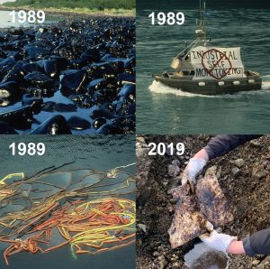 Collage of four images showing Exxon Valdez oil from 1989, tangled oil spill boom from 1989, and a protesting fishing vessel, along with a 2019 photo of lingering oil in Prince William Sound.