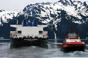Tanker and escort in Prince William Sound.