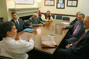 Council representatives met with Senator Mark Begich in DC in 2010. Left to right: Sen.Mark Begich, Swanson; Parker; Faulkner; Bob King of Sen. Begich's office; Stan Jones, then-Director of Administration and Legislative Affairs; and Roy Jones, federal legislative monitor for the council.