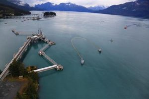 Fishing vessels helped collect the spilled oil. Alyeska trains these fishing crews every year in spill response tactics. Among other tasks, the crews are trained to pull oil spill boom to collect spilled oil floating on top of the water. Photo courtesy of Alyeska.