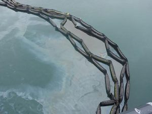 Oil collected inside boom during spill. Photo by Jeremy Robida.