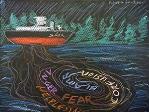 An artwork inspired by the Project Jukebox interview with Patience Andersen Faulkner, council board representative for the Cordova District Fishermen United. Faulkner worked as a legal technician with the litigation team for the 1989 Exxon Valdez Oil Spill lawsuit, and helped the council create the Peer Listener Training Program. The program helps communities deal with the long-term mental health and emotional problems stemming from technological disasters like the Exxon spill.