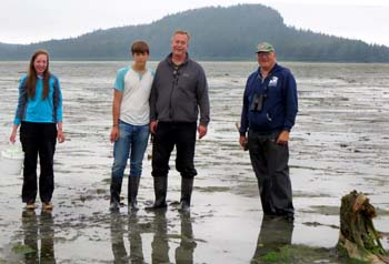 Council staffer Joe Banta recently visited Cordova to help train Sarah Hoepfner, a Cordova high school student who has volunteered to monitor the Cordova area for green crabs. Left to right: Sarah Hoepfner, Jonas Banta, and Alan Marquette. Marquette is the previous green crab monitor for Cordova.