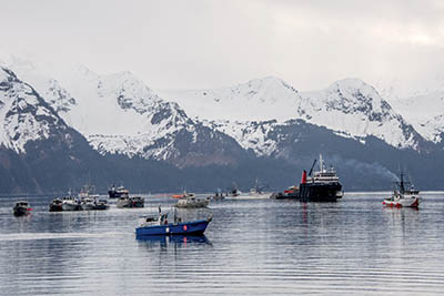 The Seward spill response fleet trains for spill response.
