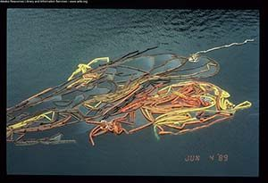 Floating oil spill boom from Exxon Valdez oil spill
