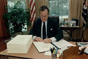 The Oil Pollution Act of 1990 was signed into law by George H.W. Bush.