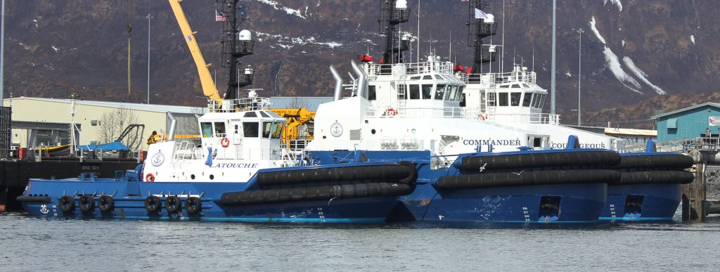 Escort tugs Commander and Courageous, and general purpose tug Latouche. Photo by Amanda Johnson.