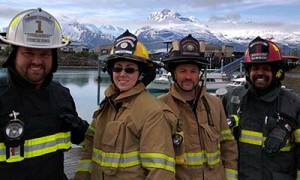 Unalaska and Valdez firefighters at the Valdez harbor. Photo by Zac Schasteen.