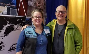 Lisa Matlock and Bob Shavelson at the council's booth at Kodiak ComFish, 2018.