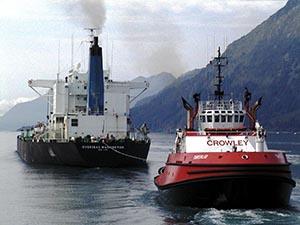 The tug Tanerliq tethered to the tanker Overseas Washington in 2002.