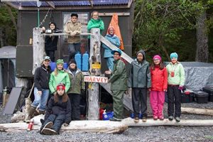 This year, the group met Susan Harvey (above, far left), an expert in oil spill prevention and response who introduced the kids to her Prince William Sound setnet site.