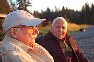 Walt Parker and Iver Malutin on a beach in Seldovia, September 2010