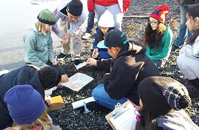 Whittier students participate in a lesson from the 2014 oil spill curriculum.
