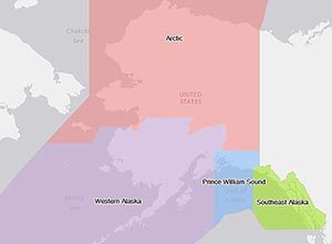 "Four proposed areas would be part of new regional plan for Alaska. Below: Currently, there are ten ""subarea"" plans, one for each of the regions in this map. Both maps are from ADEC."