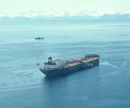 Exxon Valdez tanker leaking oil in Prince William Sound, April 13, 1989. Photo by Charles N. Ehler. Exxon Valdez Oil Spill Collection, ARLIS.